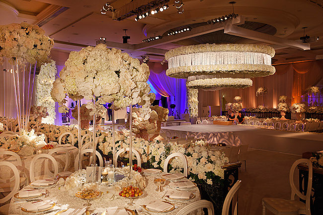romantic wedding at beverly wilshire with empty vase and