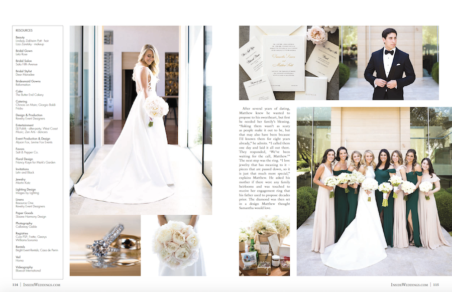 Dreamy La Quinta Wedding Featured in Inside Weddings