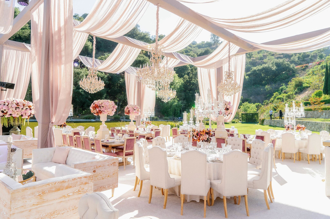 Romantic Pink and Ivory Outdoor Wedding Reception in ...